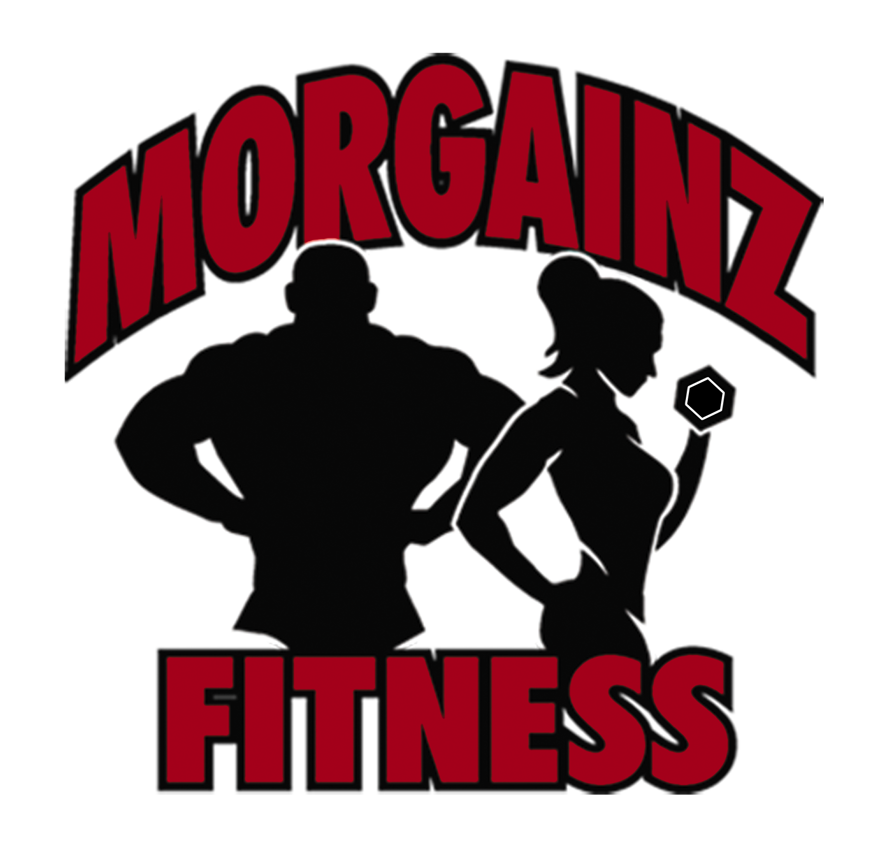 morgainz fitness logo with glow no background color